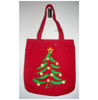 Christmas Tree Canvas Tote Bag Purse
